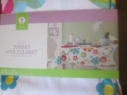 """Spring FABRIC Oblong Tablecloth 60""""X84"""" seats 6-8 Washable E"""