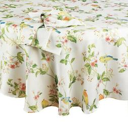 Spring Square Tablecloth 52 x 52 inch Songbirds, Flowers, Bl