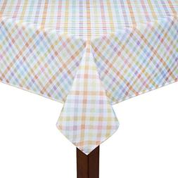 Spring Pastel Gingham Easter Checkered Fabric Tablecloth