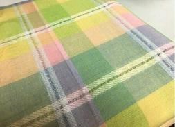 """Spring Pastel Plaid Easter Tablecloth 70"""" ROUND Easter Table"""