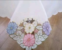 "SPRING TABLECLOTH 60""X84"" ~ pastel/ white EMBROIDERED ~ Flor"