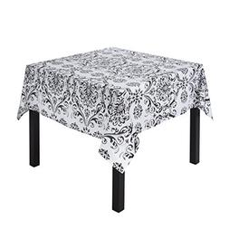 LinenTablecloth Square Cotton Black on White Damask Tableclo