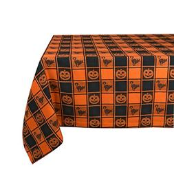 "DII 52x52"" Square Cotton Tablecloth, Black & Orange Check Pl"