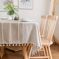 famibay Square Decoration Tablecloth 55x55 Cotton Linen Eleg