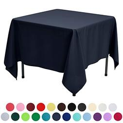 VEEYOO 85 inch Square Solid Polyester Tablecloth for Wedding