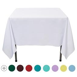 VEEYOO 70 inch Square Solid Polyester Tablecloth for Wedding