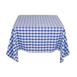 LinenTablecloth 70-Inch Square Tablecloth Blue & White Check