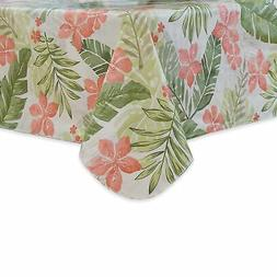 Square Tablecloth Vinyl Flannel Backed 52x52 Palm Leaves Pin