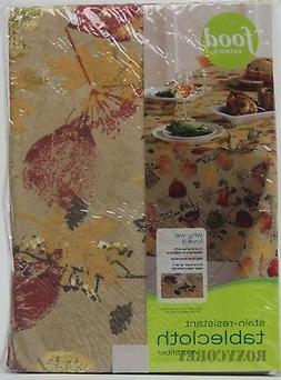 Food Network Stain Resistant Autumn Leaves 60x102 Oval Table