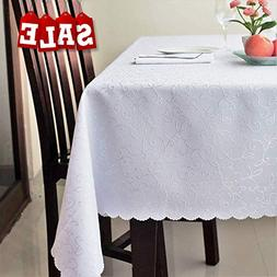 Stain Resistant Turkish White Tablecloth Polyester Table Cov