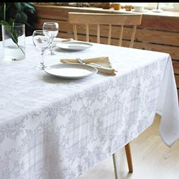 AHOLTA DESIGN Stain Resistant White Tablecloth Polyester Tab