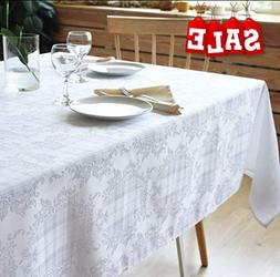 Stain Resistant White Tablecloth Polyester Table Cover - Rec