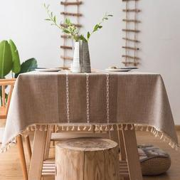 stitching tassel tablecloth heavy weight cotton linen