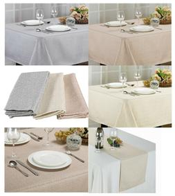 STONE COLLECTION TEXTURED FABRIC TABLECLOTH, PLACEMATS, NAPK