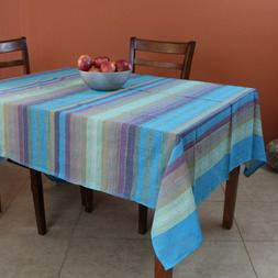 Striped Cotton Tablecloth Rectangular 60 x 90 inches Lightwe