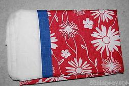 Summer CLOTH Tablecloth 52x70 Oblong Bordered Red White Blue