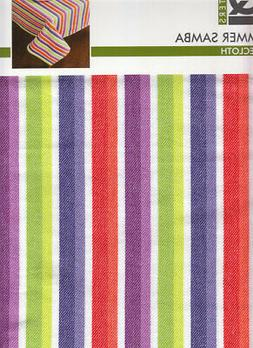 Summer Stripe Rectangle Tablecloth 60 x 84 Samba Purple Gree