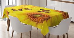Ambesonne Sunflower Decor Tablecloth by, Sunflower Flowers A
