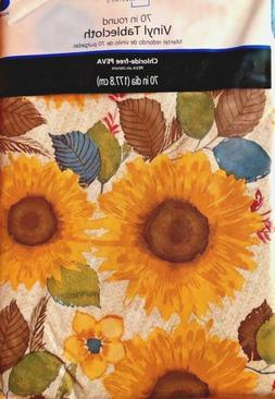"Sunflower Vinyl Tablecloth 70"" Round For Kitchen Table Outdo"