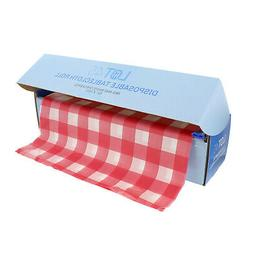 Lot45 Table Covers - 100ft x 52in Disposable Plastic Tablecl