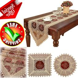 Table Runner Vintage Lace Doilies Embroidered Gold Burgundy
