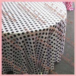 "Tablecloth 90"" Round Polka Dot Charmeuse 1 inch Circle White"