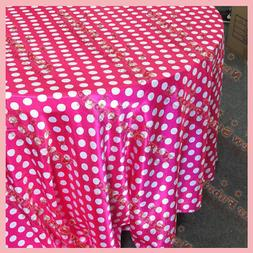 "Tablecloth 90"" Round Polka Dot Charmeuse 1 inch Circle Fuchs"