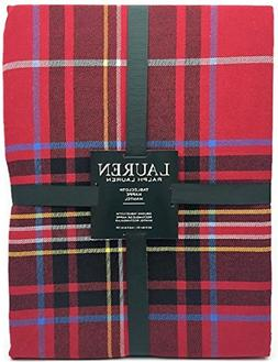 "Ralph Lauren Tablecloth Baker Plaid Red 60"" x 84"" NEW Christ"