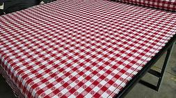 "Tablecloth Checkered Red W/ Hearts/Clover Fabric 62""W Premiu"