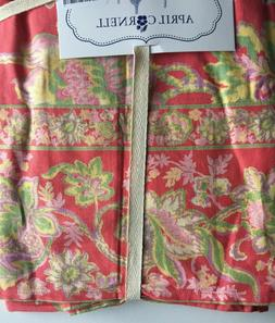 April Cornell Tablecloth Coral green paisley floral French C