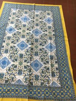 """Mahogany Tablecloth Cotton 60""""x 60"""" Floral Blue Yellow"""