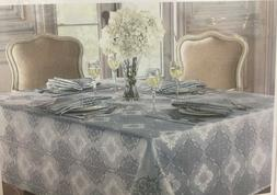 Tablecloth Waterford Linens Valentina Sky Blue Gray Oblong 5