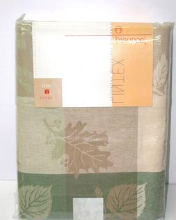 "Lintex Tablecloth ~ Many Leaves Green Tan Cream ~ 60"" x 84"""