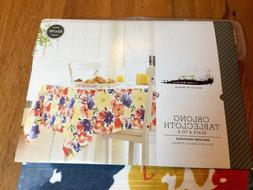 Threshold Tablecloth Oblong Floral 52x70 Machine Washable 10
