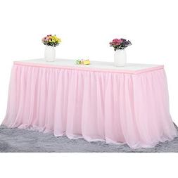 Haperlare 9ft Tablecloth Pink Tulle Table Skirt Queen Snowfl
