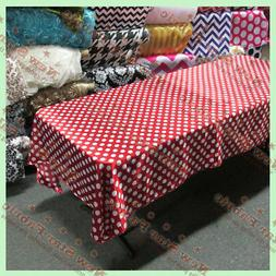 """Tablecloth Rectangle Polka Dot 1"""" Charmeuse 58 X 108 Red / W"""