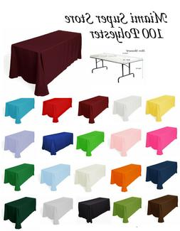 Tablecloth Rectangular for table 4', 5', 6' or 8' .Multiple