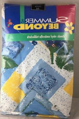 """Tablecloth Bed Bath Beyond Round Vinyl 70"""" Flowers Clouds"""