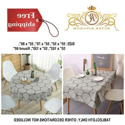 Tablecloth Table Cloth Cover Medallion Cotton Linen Stain Re