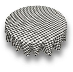 Tablecloth Table Cloth Round Checked Check BLACK and White 7