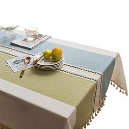 VIMOO Tassel Tablecloth Cotton Linen Washable Table Cover fo