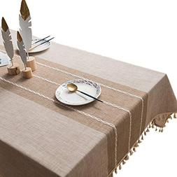 VIMOO Tassel Tablecloth Cotton Linen Washable Table Cover, K