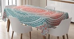 Ambesonne Teal and Coral Tablecloth, Ombre Mandala Art Antiq