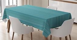 Ambesonne Teal Decor Tablecloth, Vertical Stripes Lines Ethn