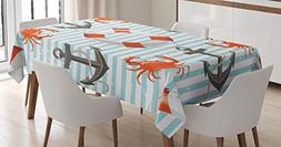 Ambesonne Teal Striped Nautical Decor Tablecloth, Life Rings