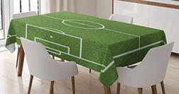 Ambesonne Teen Room Decor Tablecloth, Soccer Field Grass Mot