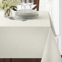 "Textured Heavyweight Fabric Tablecloth, White, 60"" x 120"" Re"