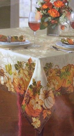 Pumpkin Delight Autumn Tablecloth, 70 Inches Round