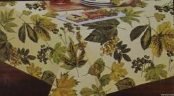 Holiday Home Thanksgiving Fall with Leaves 70 in Round Table