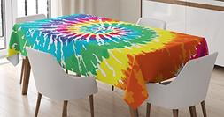 Ambesonne Rainbow Tablecloth, Digital Spiral Vortex Vibrant